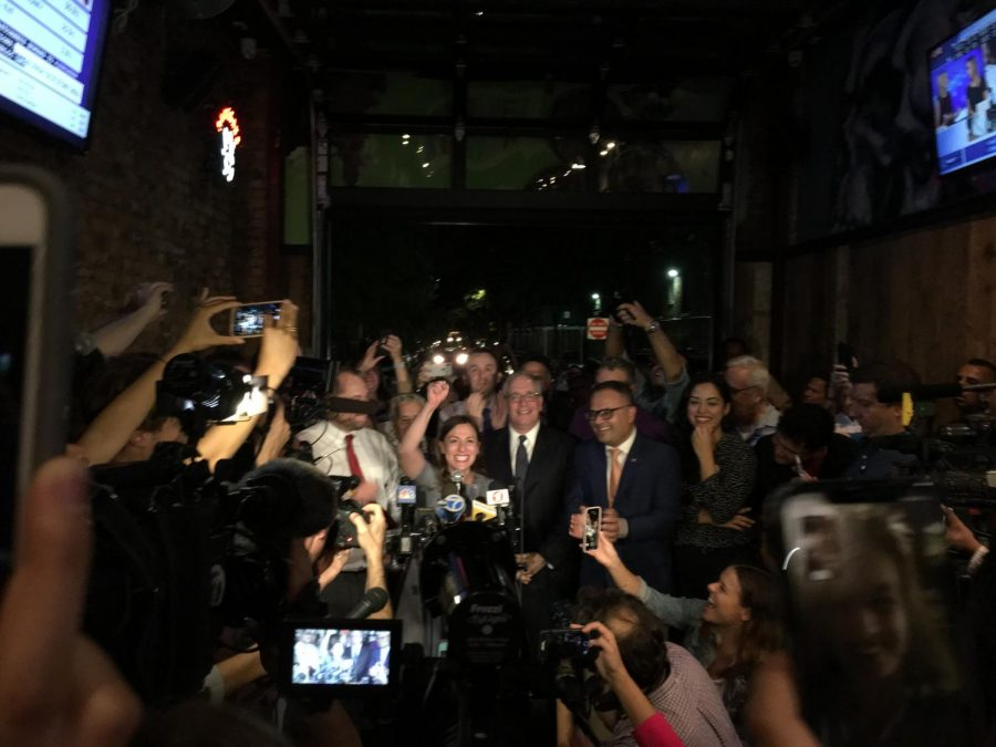 Alessandra+Biaggi++celebrates+with+supporters+at+the+Bronx+Alehouse.