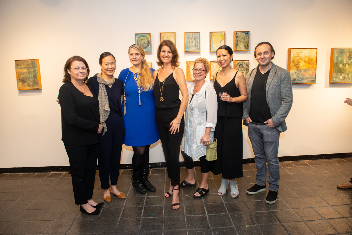 Artist from Waxing Poetic Exhibition: Deborah Winiarski, Sui Park, PAC Director Charlotte Mouquin, Curator Katharine Dufault, Melissa Rubin, Cecile Chong and Gene Kiegel. Michael David was not present, but will be there for the talk.