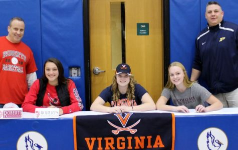 Volpe, Bell and Bischof sign college athletic letters of intent at PMHS ceremony