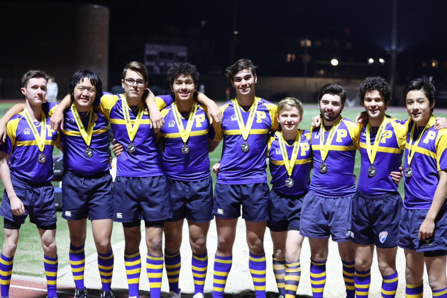 Pelham varsity rugby 7s with their silver medals.