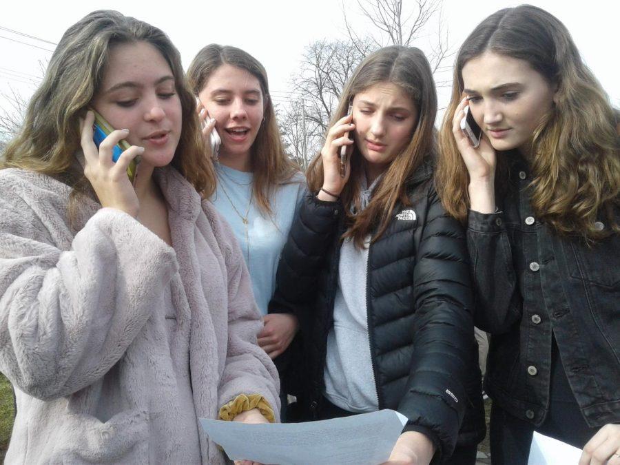 PMHS+students+call+New+York+State+Senators+demanding+climate+action+legislation+at+school+strike%2C+March+15.+