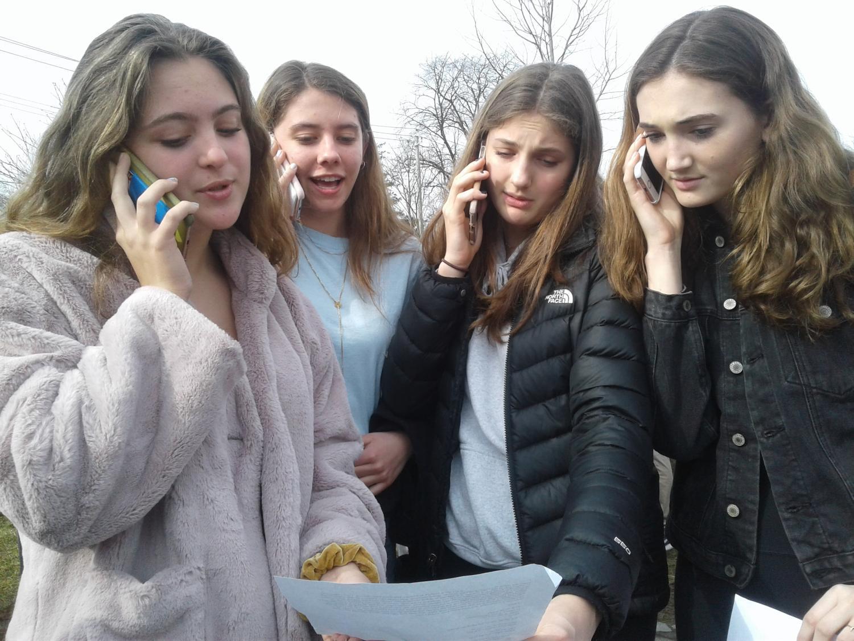 PMHS students call New York State Senators demanding climate action legislation at school strike, March 15.