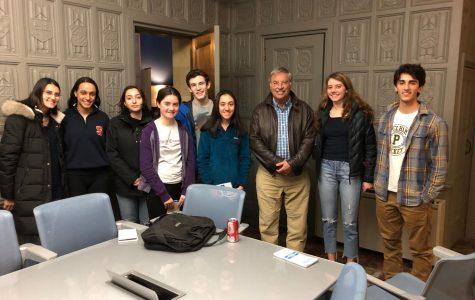 George Freeman, Pelham resident and press law expert, briefs Pelham Examiner editors