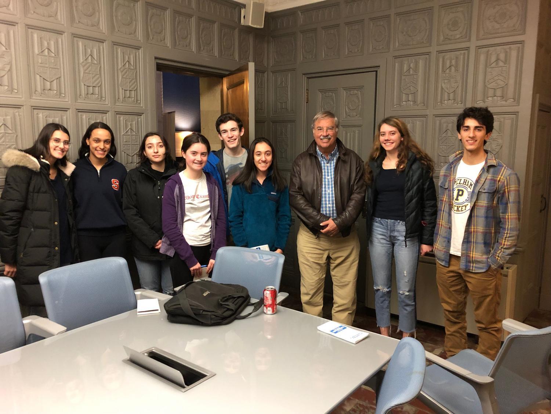 George Freeman (third from right) with Pelham Examiner editors.