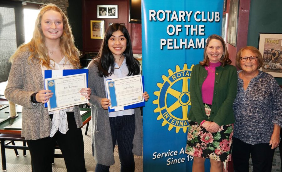 From+left%2C+Scholars+of+the+Month+Julia+Loughman+and+Caitlin+Wong%2C+PMHS+Principal+Jeannine+Clark+and+Rotary+President+Lyn+Roth-Jacobs.